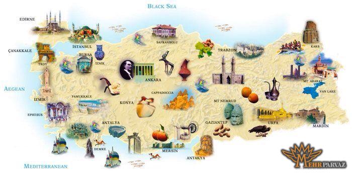 نقشه جاذبه های ترکیه